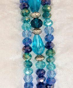 Veelkleurig oceaanblauw turquoise lichtblauw armbanden kristallen armbanden zilverkleurig handgemaakte